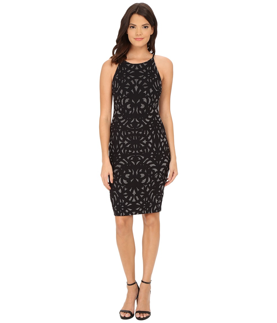 Aidan Mattox Stretch Foil Knit Cocktail Dress (Black) Women