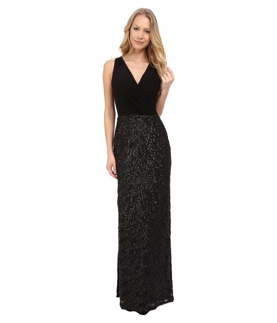 Aidan Mattox Sleeveless Surplice Jersey Top Gown Sequin Skirt Black Dress