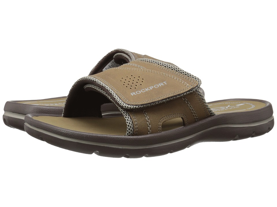 Rockport - Get Your Kicks Sandals Hook and Loop Slide (Tan/Sand) Men's Sandals