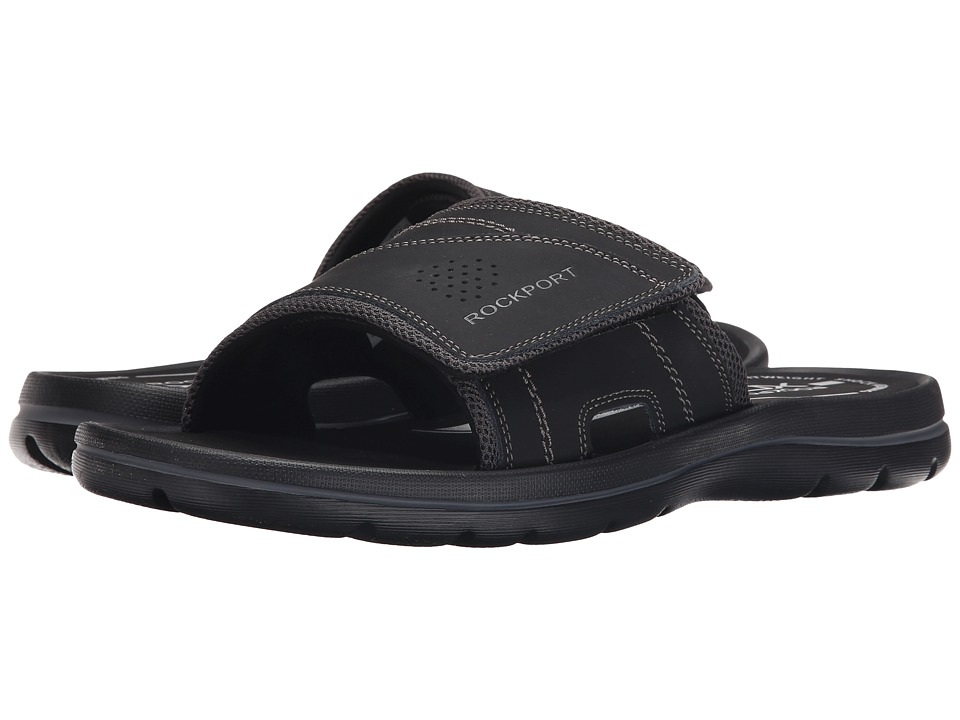 Rockport Get Your Kicks Sandals Hook and Loop Slide (Black/Grey) Men