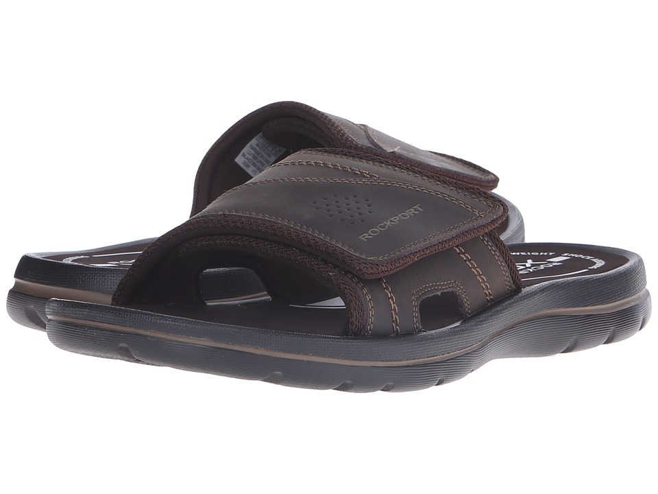 Rockport - Get Your Kicks Sandals Hook and Loop Slide (Coffee) Men's Sandals