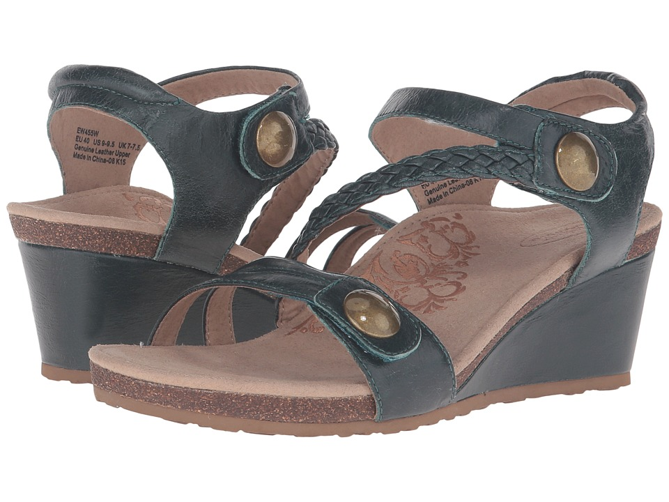 Aetrex - Naya Wedge Sandal (Dark Teal) Women's Wedge Shoes