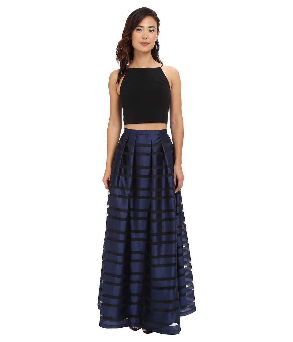Image of Aidan Mattox - Ball Skirt w/ Illusion Panels and Stretch Halter Top (Black/Navy) Women's Dress