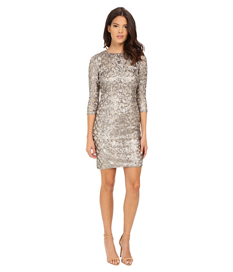 Adrianna Papell - Sequin Shift Dress w/ Necklace (Mink) Women