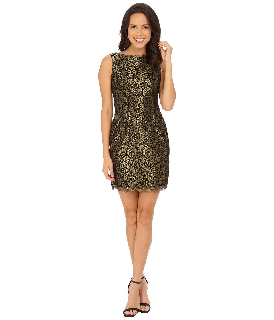 Adrianna Papell - Sleeveless Metallic Lace Cocktail Dress (Black/Gold) Women's Dress