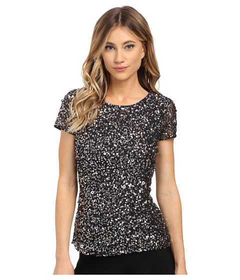 Adrianna Papell - Cap Sleeve Fully Beaded Mesh Blouse (Charcoal) Women's Blouse