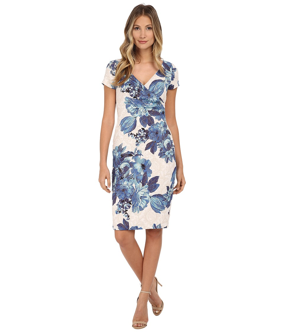 Adrianna Papell - Pleated Wrap Matelasse Dress (Blue Multi) Women's Dress