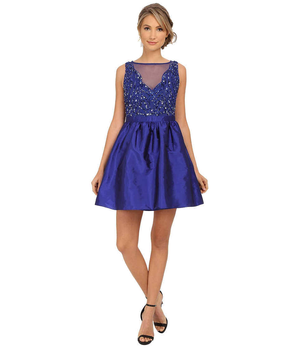Adrianna Papell - Short Beaded Taffeta Party Dress (Neptune) Women's Dress