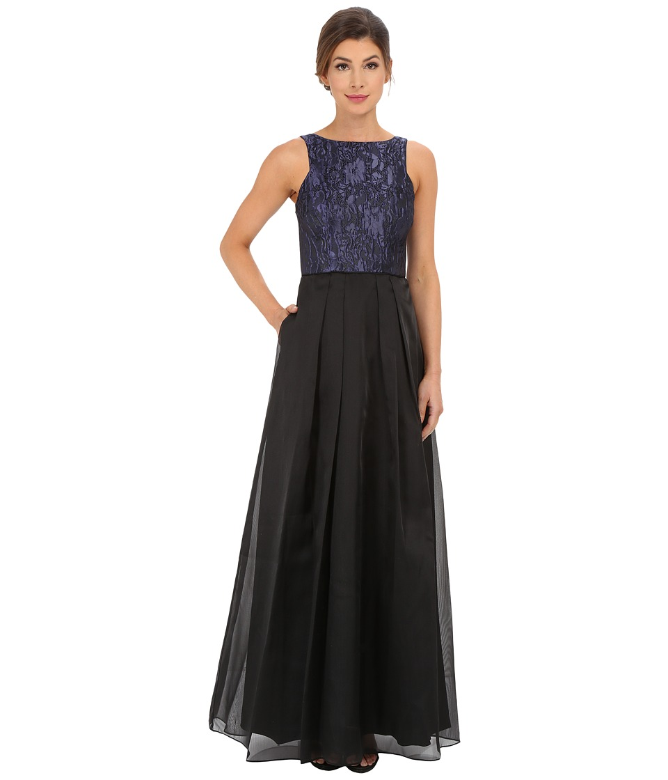 Aidan Mattox - Ball Gown w/ Textured Jacquard Bodice (Midnight Blue) Women's Dress