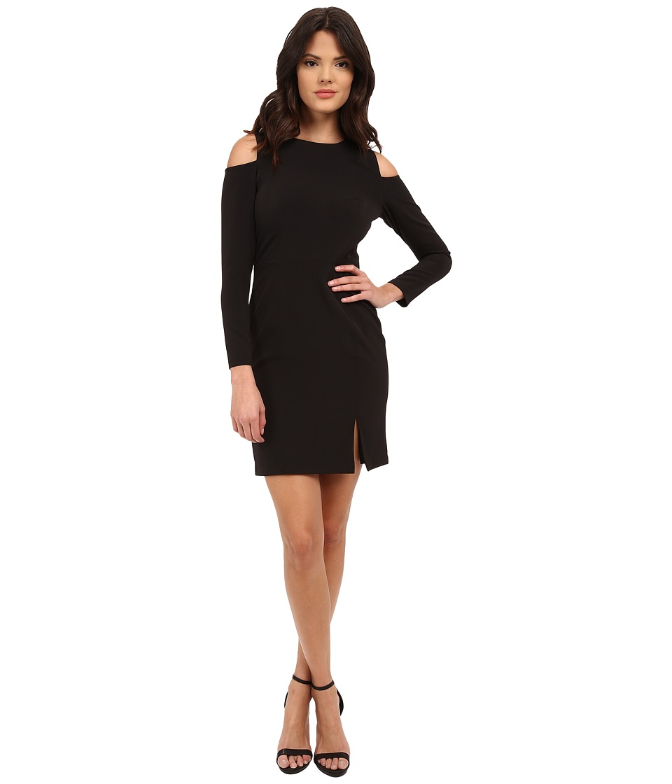 Aidan Mattox - Long Sleeve Cocktail Dress w/ Seam Detail Peekaboo Shoulder (Black) Women's Dress
