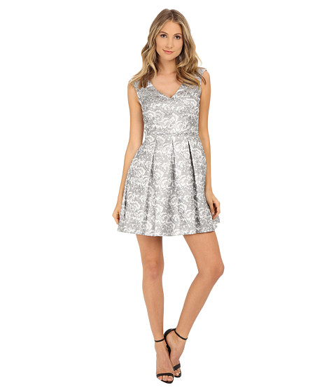 Aidan Mattox - V-Neck Jacquard Dress (Silver) Women