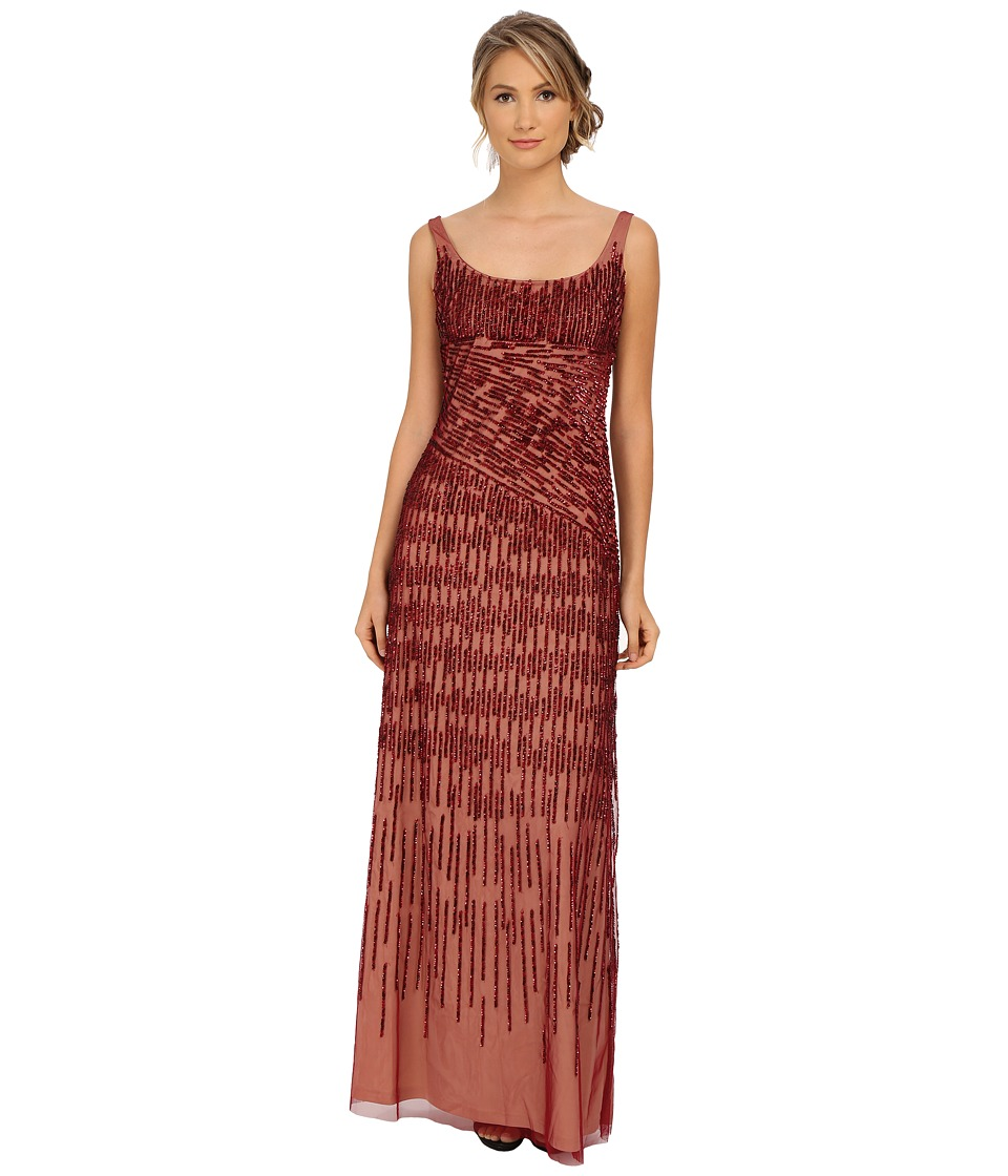 Adrianna Papell - Spiral Beaded Mermaid Gown (Cranberry) Women's Dress