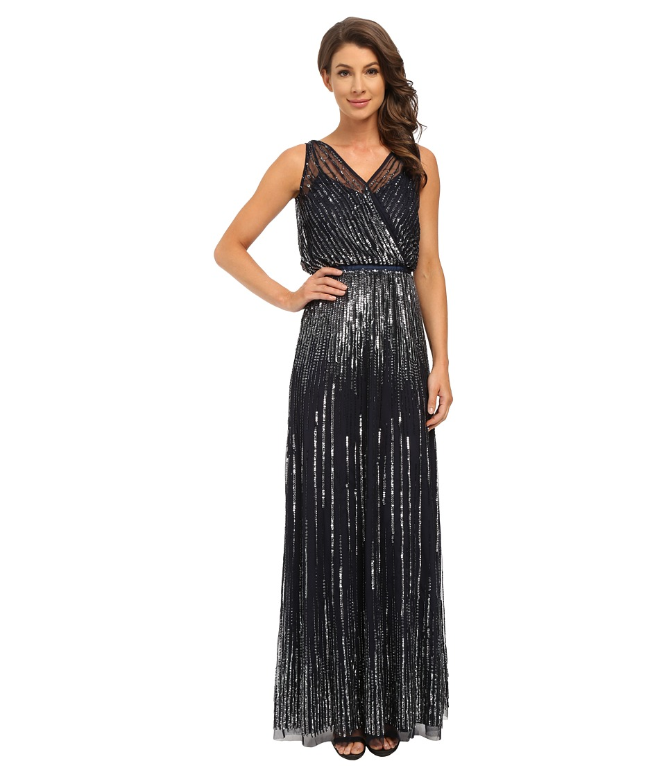 Adrianna Papell - Sleeveless Wrap Front Beaded Gown (Midnight) Women's Dress