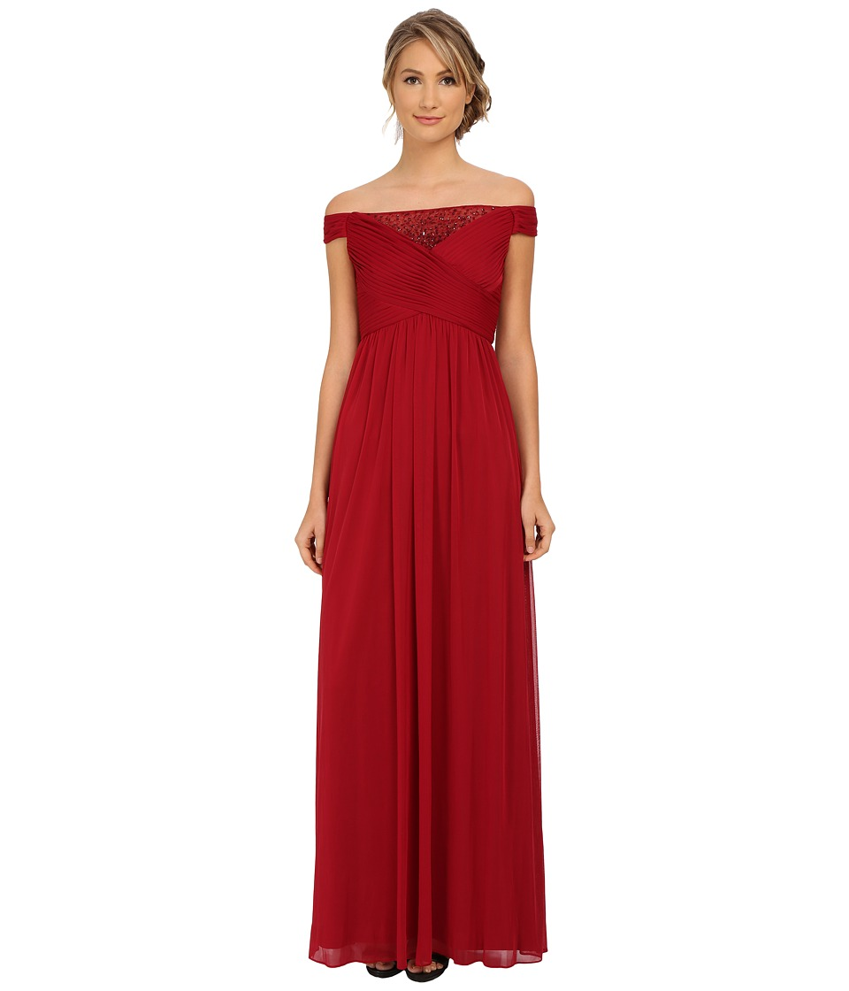 Adrianna Papell Off Shoulder Beaded Tulle Gown (Cranberry) Women
