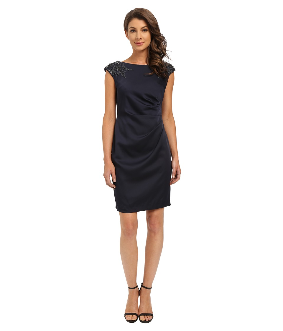 Adrianna Papell - Cap Sleeve Satin Back Crepe Cocktail Dress (Ink) Women
