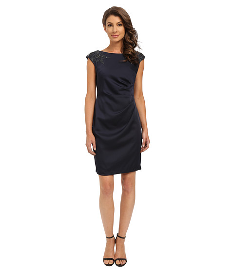 Adrianna Papell - Cap Sleeve Satin Back Crepe Cocktail Dress (Ink) Women's Dress