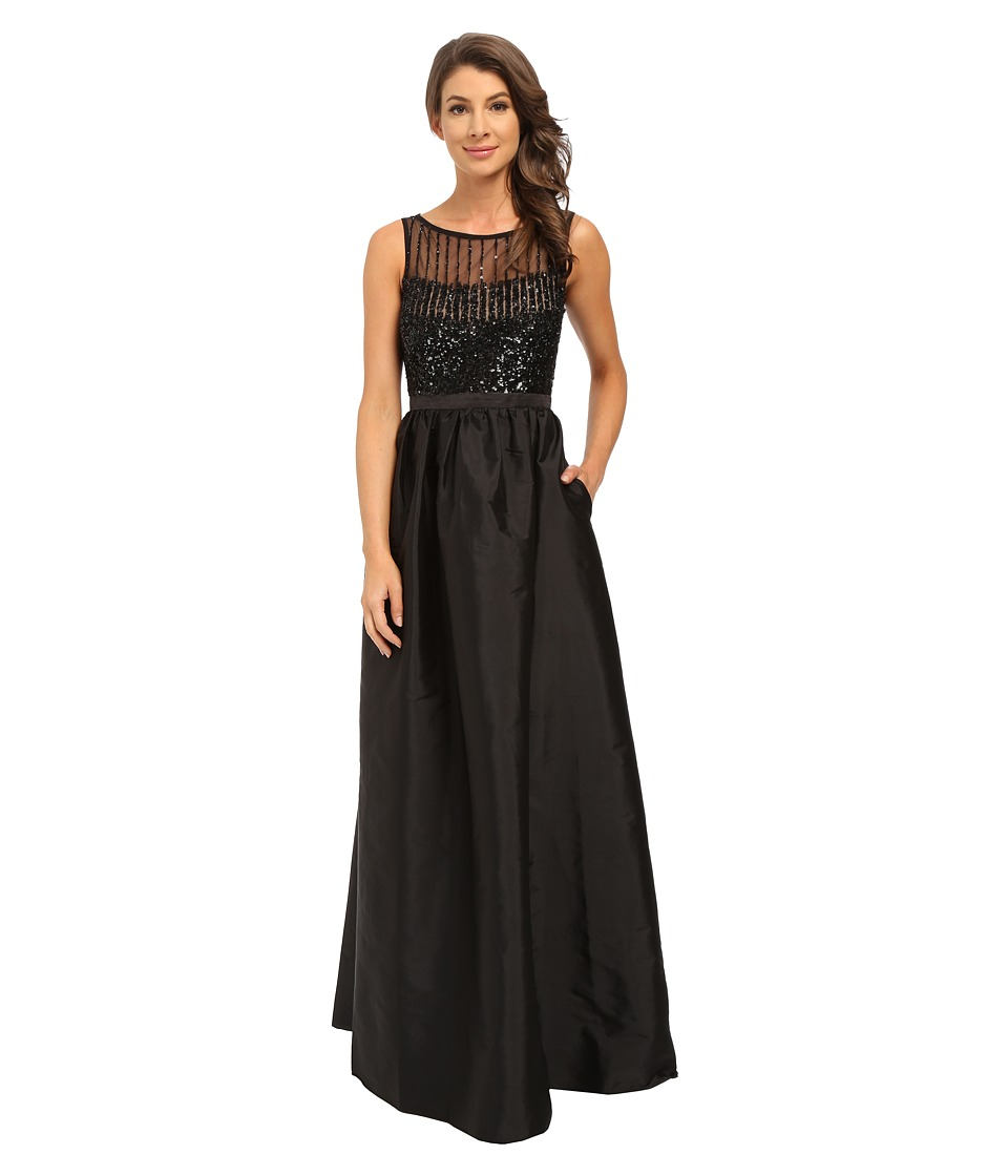 Adrianna Papell Sleeveless Beaded Bodice Taffeta Ball Gown Black Dress