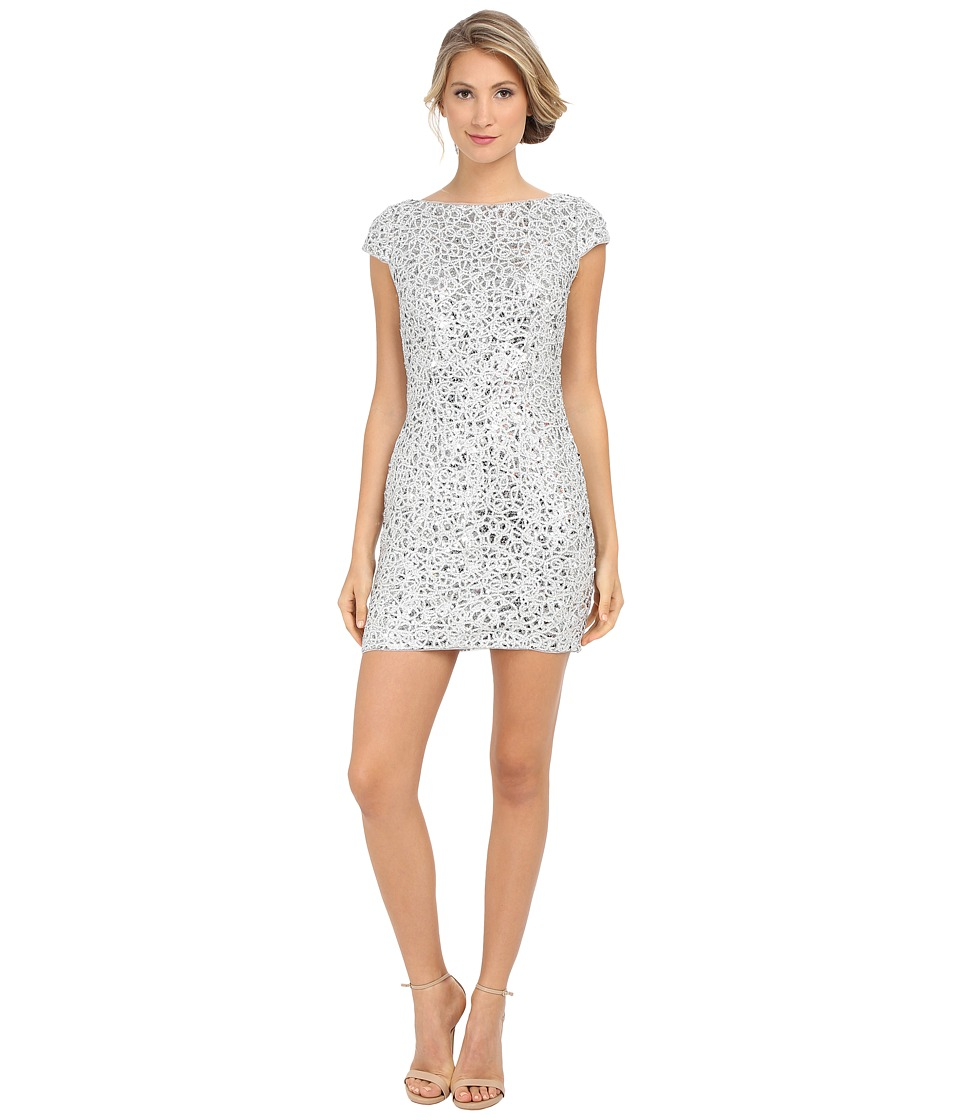 Adrianna Papell - Sequin Chem Lace Shift Dress (Silver) Women's Dress