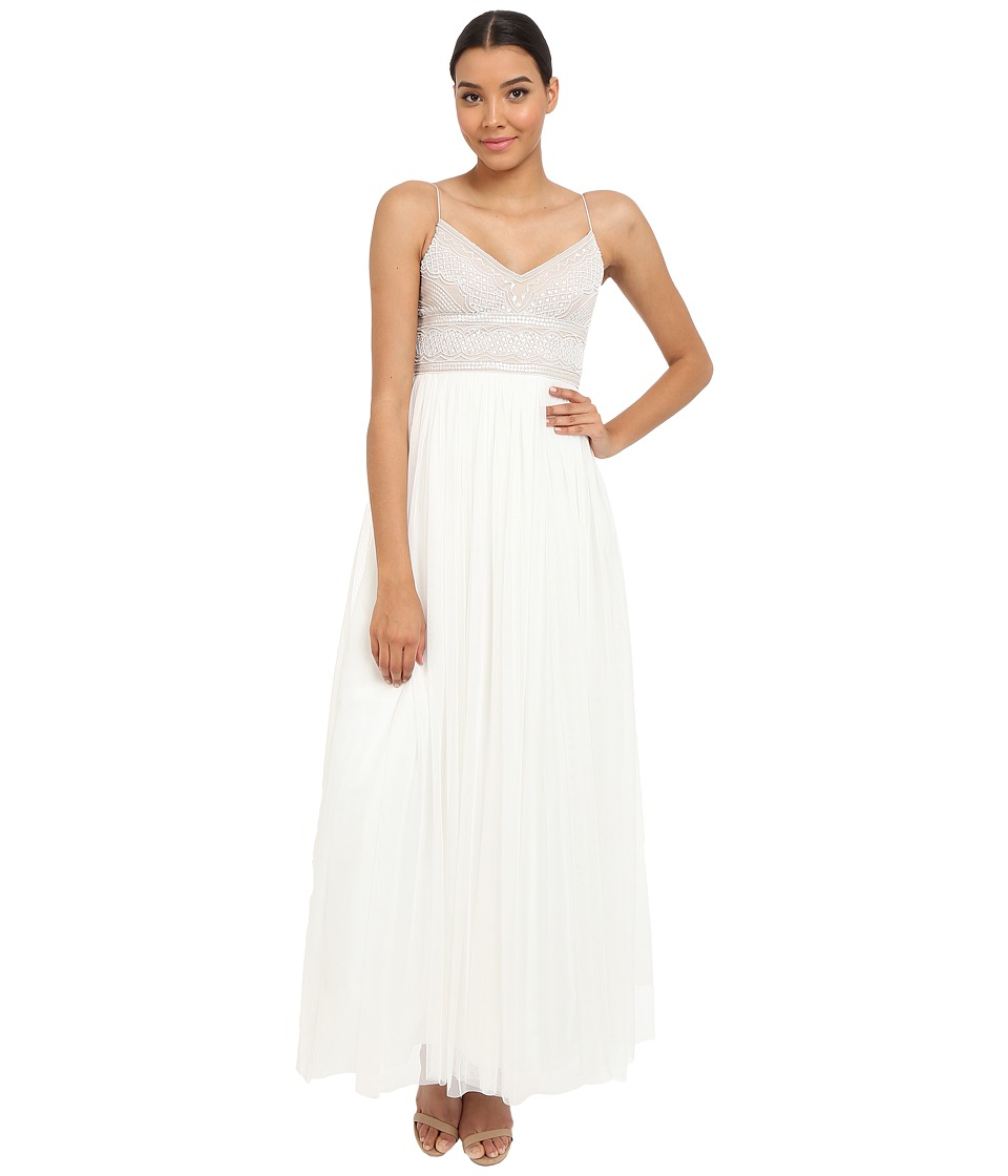 Adrianna Papell - Sleeveless Beaded Bodice Tulle Gown (Ivory/Nude) Women's Dress