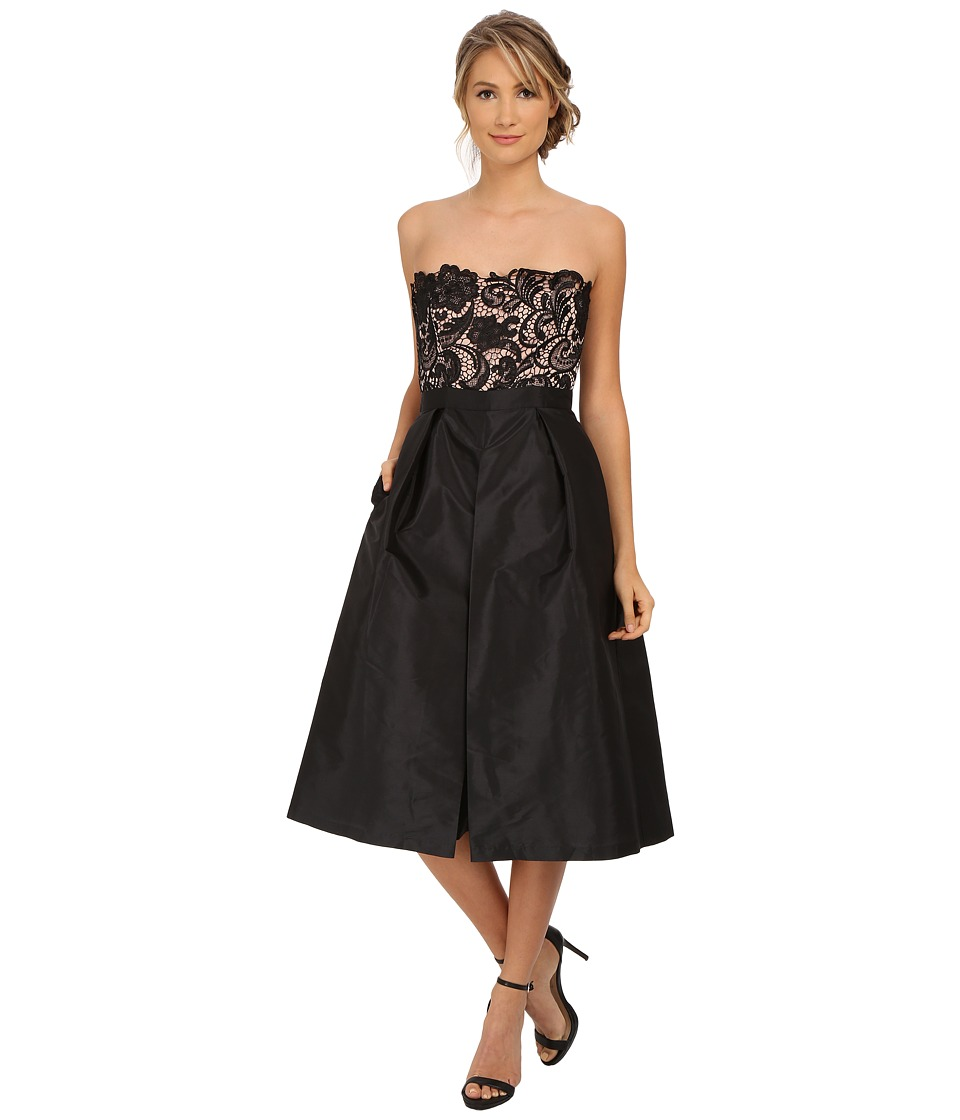 Adrianna Papell - Strapless Guipure Lace Bodice Taffeta Jumpsuit (Black) Women's Jumpsuit & Rompers One Piece