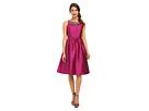 Sleeveless Mid Length Beaded Taffeta Party Dress w/ Mesh Yoke