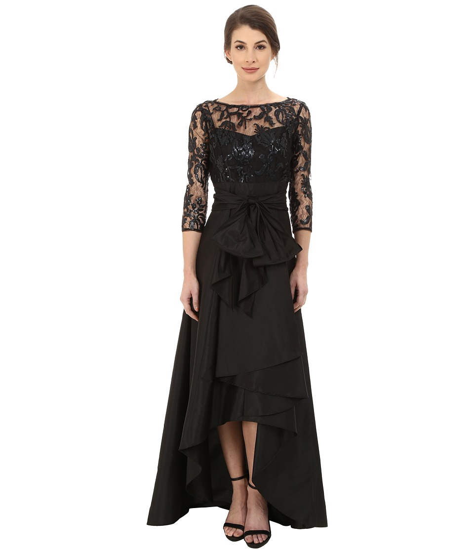 Adrianna Papell - Sequin Illusion High-Low Gown (Black) Women's Dress