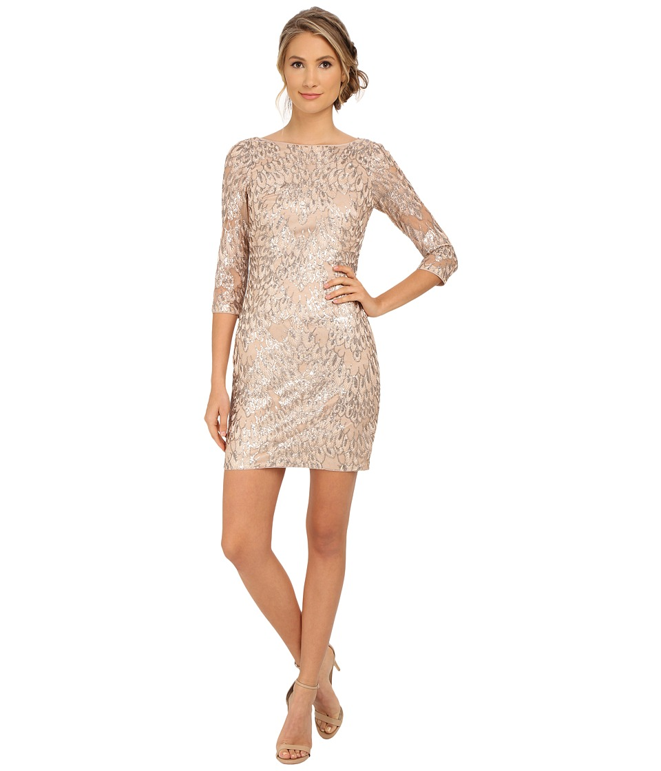 Aidan Mattox - Long Sleeve Embroidered Feather Pattern Cocktail Dress (Champagne) Women's Dress