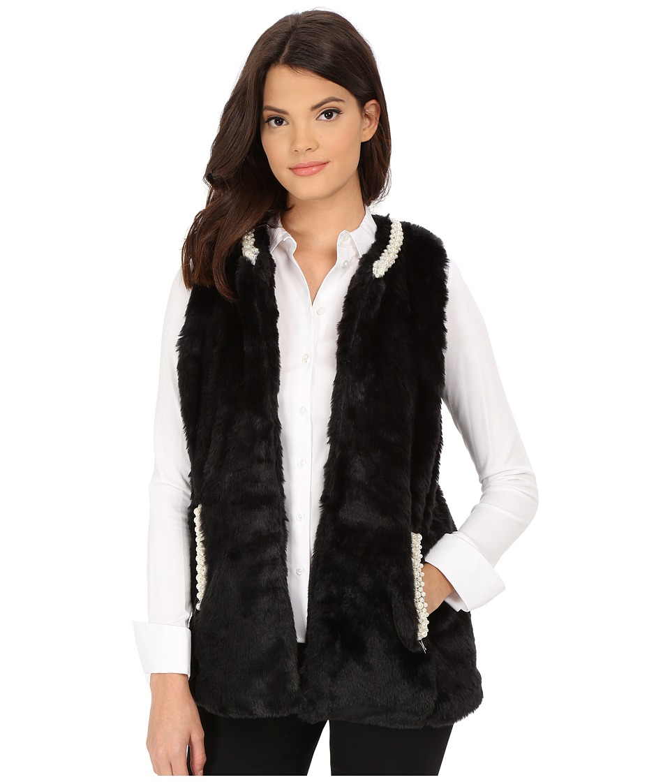 Betsey Johnson - Pearl Trim Cozy Mink Long Vest (Black) Women's Vest