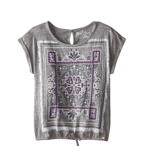 Lucky Brand Kids - Carrie Scarf Enzyme Wash Tee (Big Kids) (Marled Heather Gray) Girl