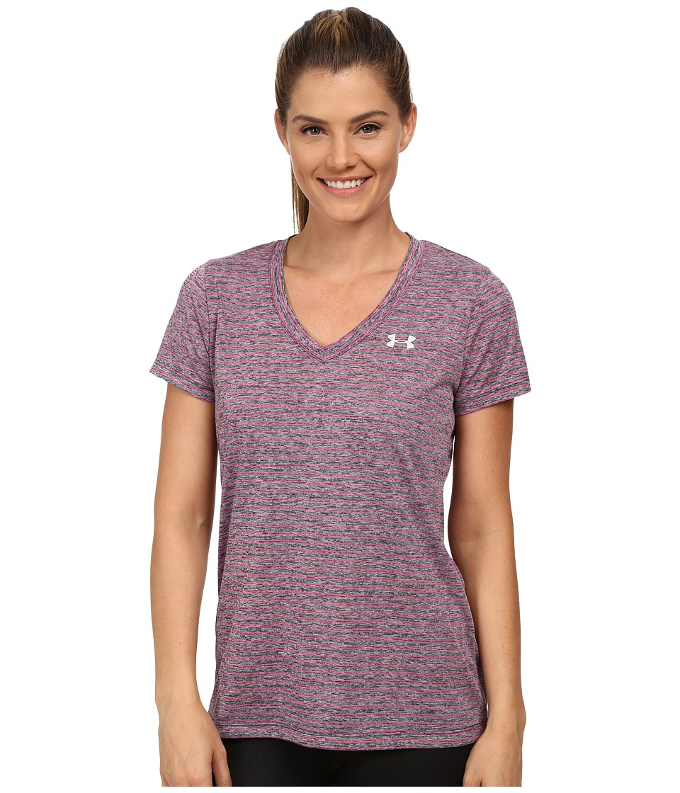Under Armour - Tech Short Sleeve Heather Stripe (Black/Rebel Pink/Metallic Silver) Women's T Shirt
