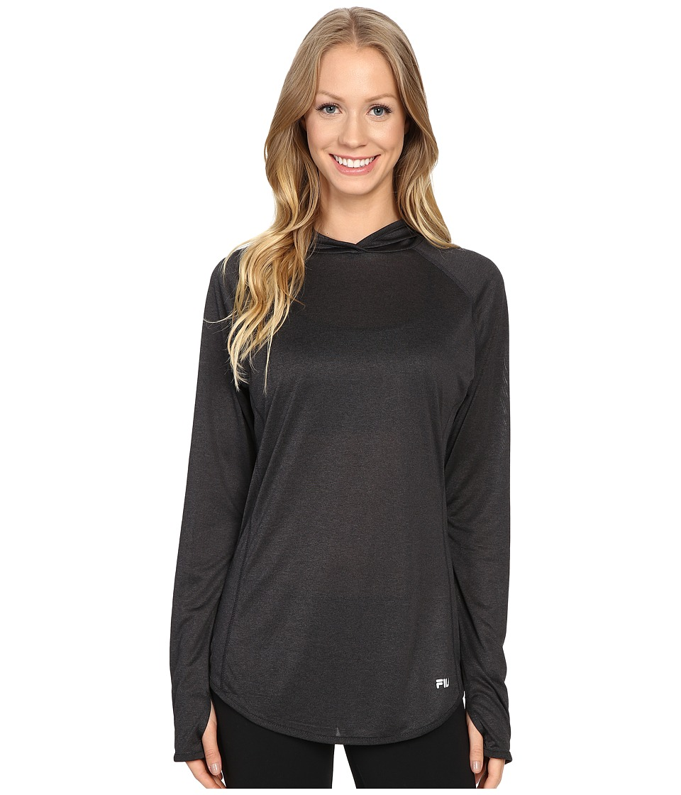 Fila - Pure Heather Hoodie (Black Heather/Varsity Heather) Women's Long Sleeve Pullover