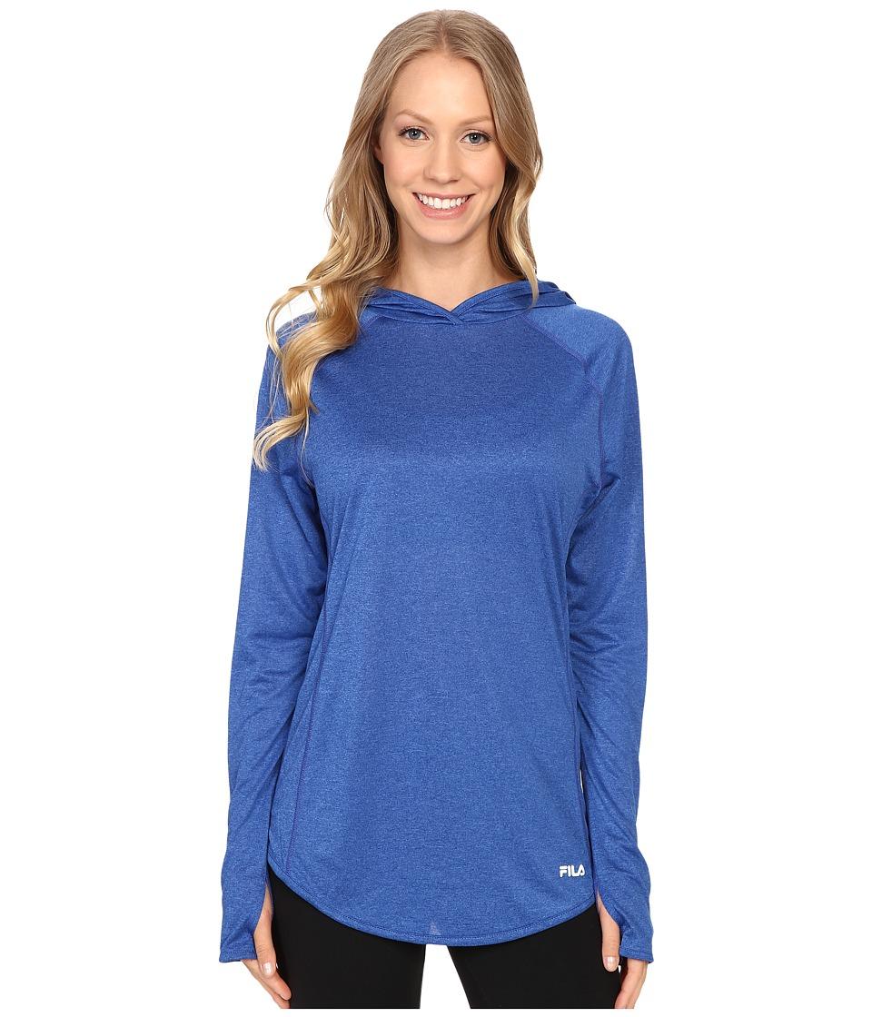 Fila - Pure Heather Hoodie (Violet Blue Heather/Lemon Tart Heather) Women's Long Sleeve Pullover