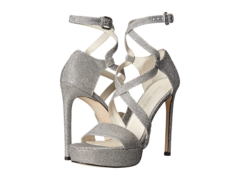 Stuart Weitzman Bridal & Evening Collection - Streamer (Silver Noir) Women's 1-2 inch heel Shoes
