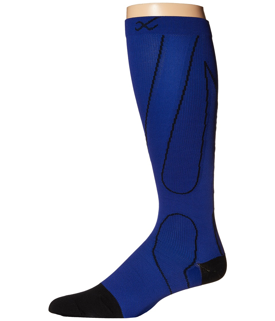 CW-X - PerformX Socks (Blue/Black) Crew Cut Socks Shoes