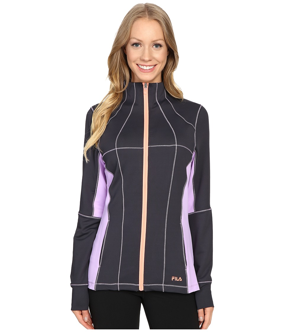 Fila - Premier Jacket (Ebony/Lavender Field/Furo Coral) Women's Coat