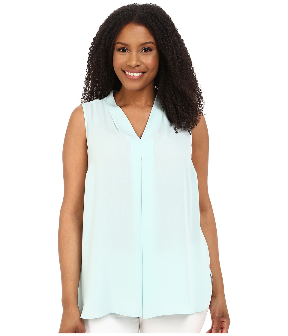 Vince Camuto Plus - Plus Size Sleeveless Blouse w/ Inverted Front Pleat (Aqua Shade) Women's Blouse