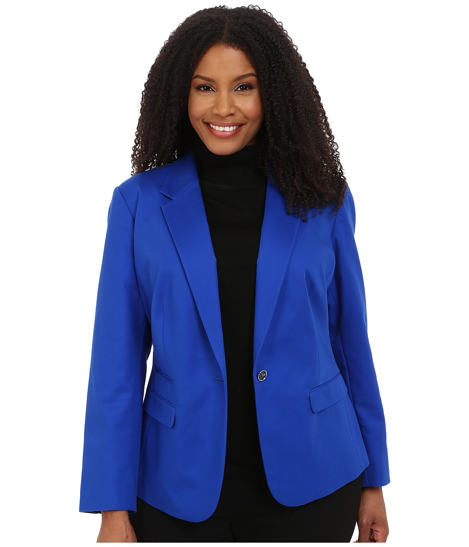 Vince Camuto Plus - Plus Size One Button Blazer (Sapphire) Women's Jacket