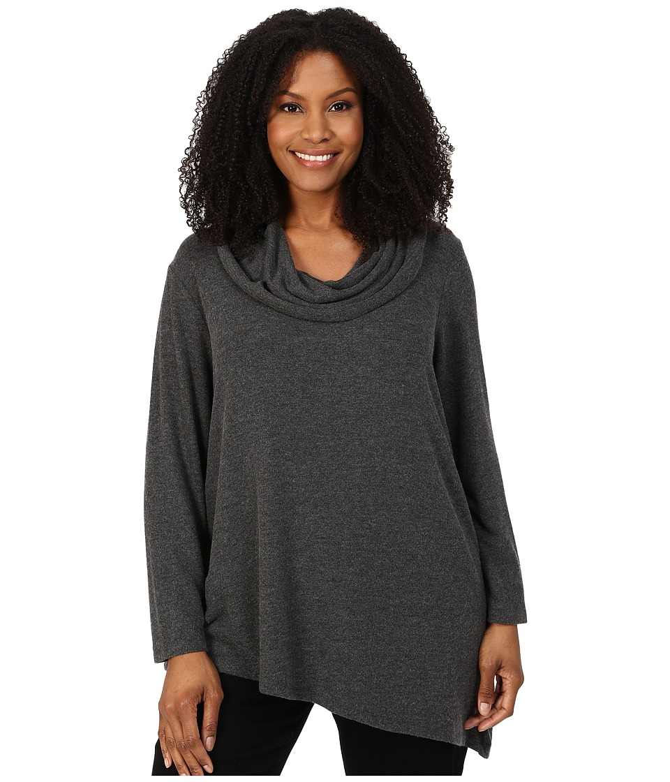 NYDJ Plus Size - Plus Size Constance Cozy Long Sleeve Cowl Neck (Charcoal) Women's Clothing