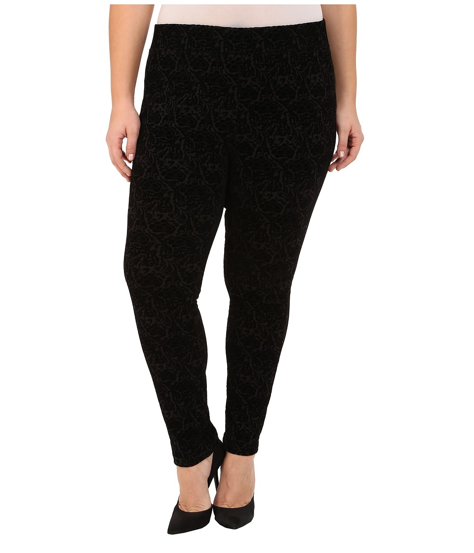 NYDJ Plus Size - Plus Size Joanie Skinny Pull On Leggings (Black Primrose Flocking) Women's Casual Pants