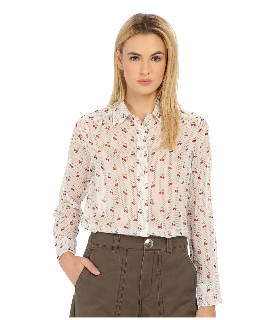Marc by Marc Jacobs - Cherry Pindot Voile Button Up Shirt (Off-White Multi) Women's Blouse