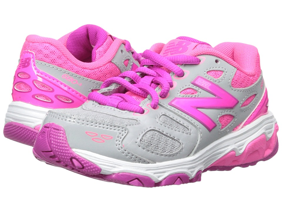 New Balance Kids KR680 (Little Kid/Big Kid) (Grey/Pink) Girls Shoes