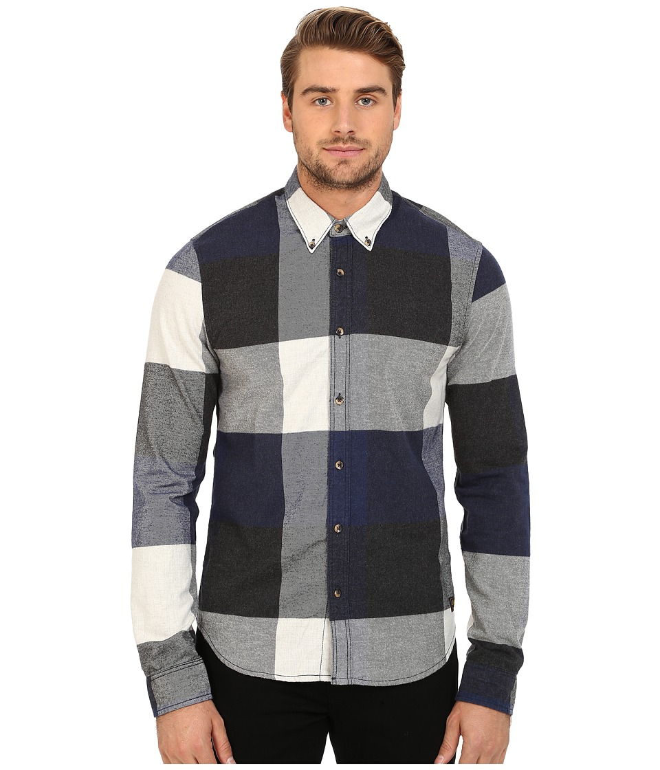 Scotch & Soda - Long Sleeve Shirt in Block Check (Navy/Black/White) Men's Clothing