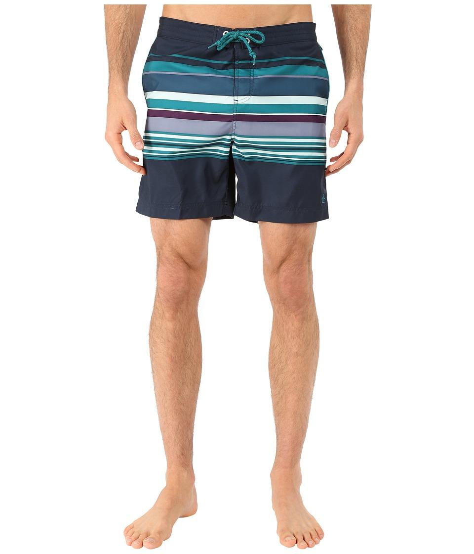 Original Penguin - Bold Engineered Stripe Volley Swim Trunk (Dark Sapphire) Men's Swimwear