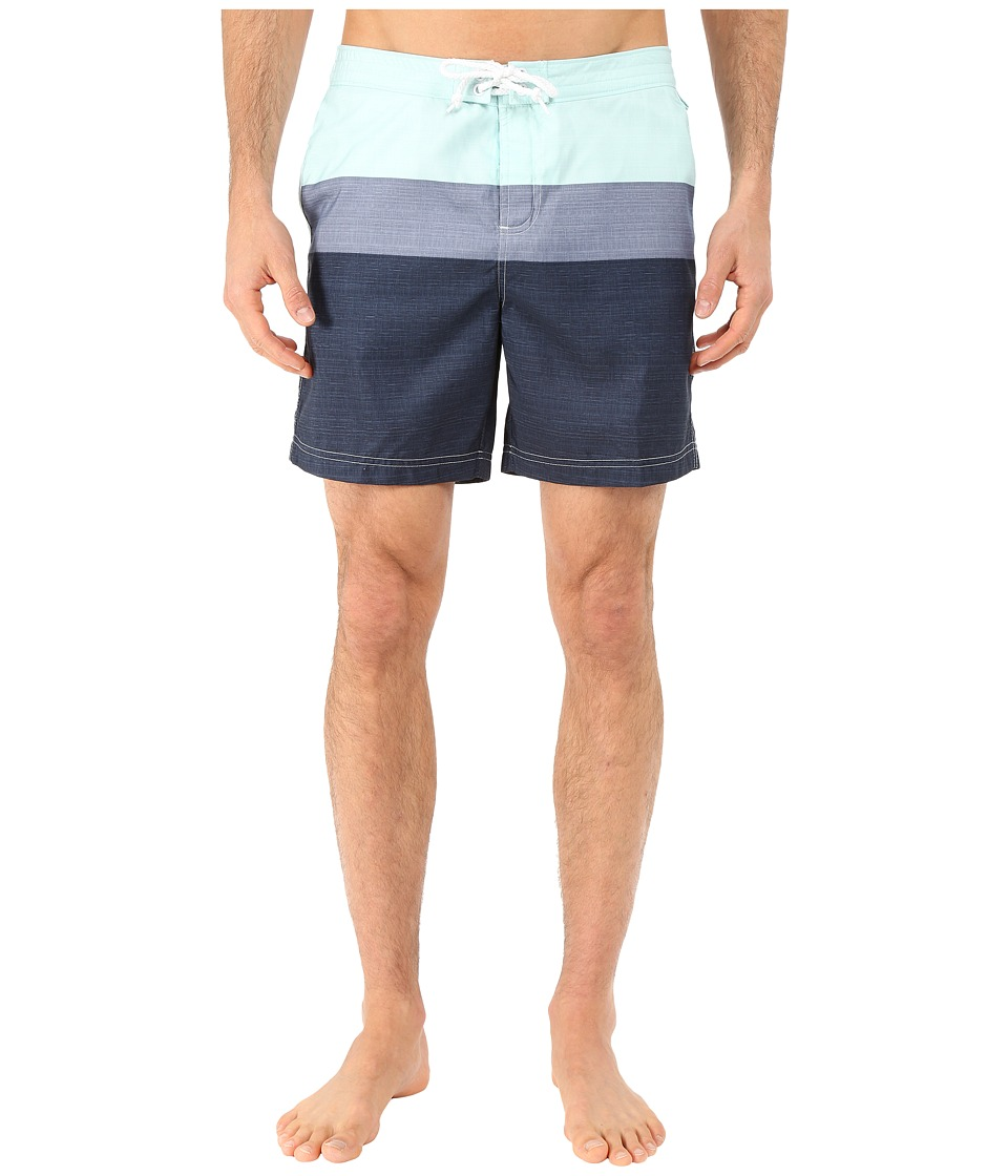 Original Penguin - Three Color Stripe Fixed Volley Shorts (Icy Morn) Men's Swimwear
