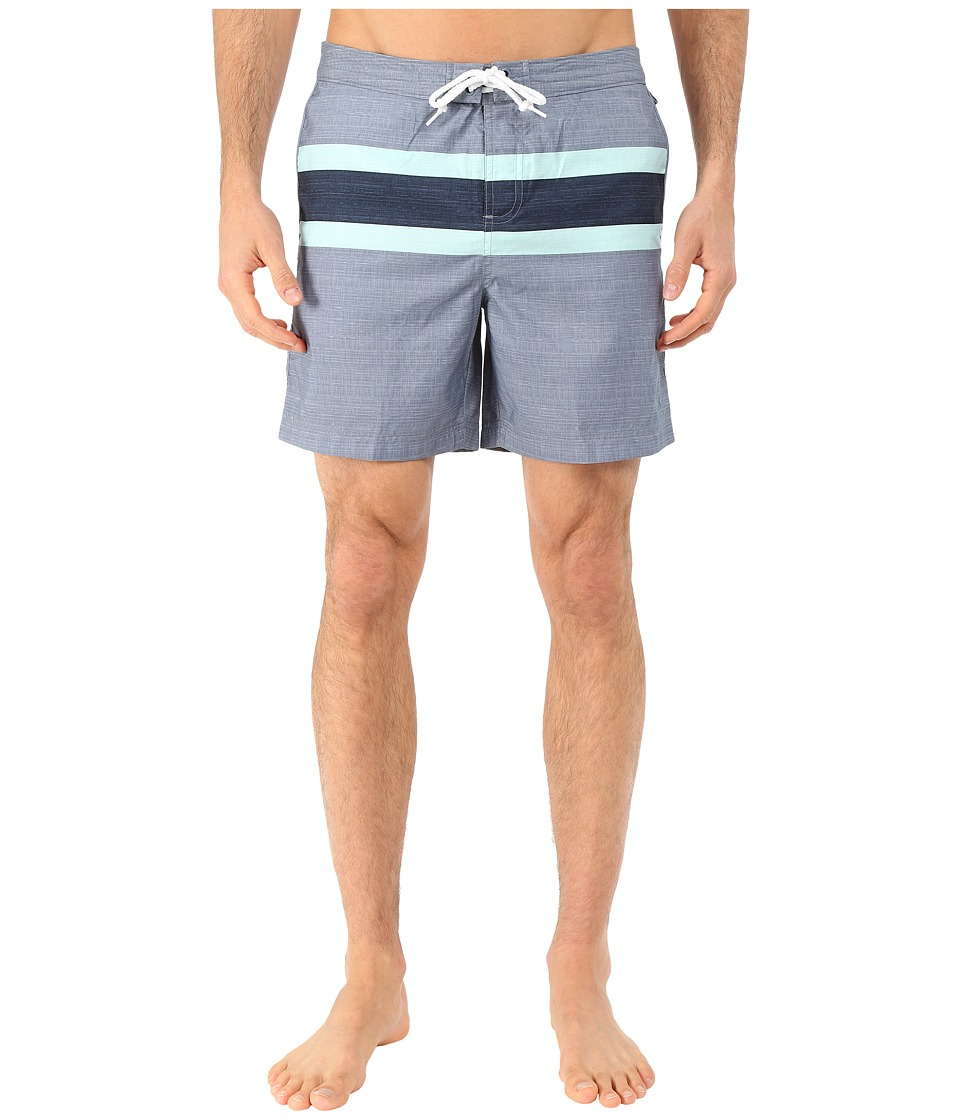Original Penguin - Faux Chambray Engineered Stripe Print Fixed Volley Shorts (Flint Stone) Men's Swimwear