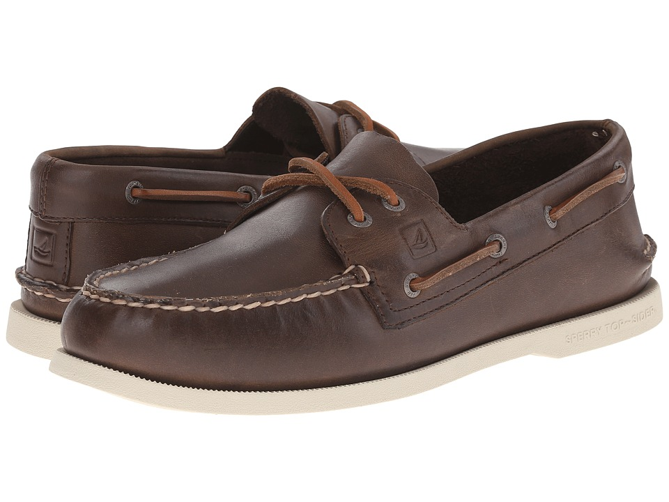 Sperry Top-Sider - A/O 2-Eye (Brown/White Bottom) Men's Slip on Shoes