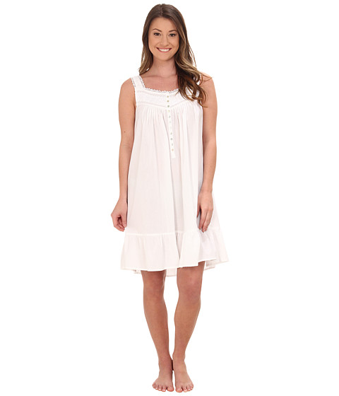 Eileen West - Cotton Lawn Embroidered Chemise (White) Women's Pajama