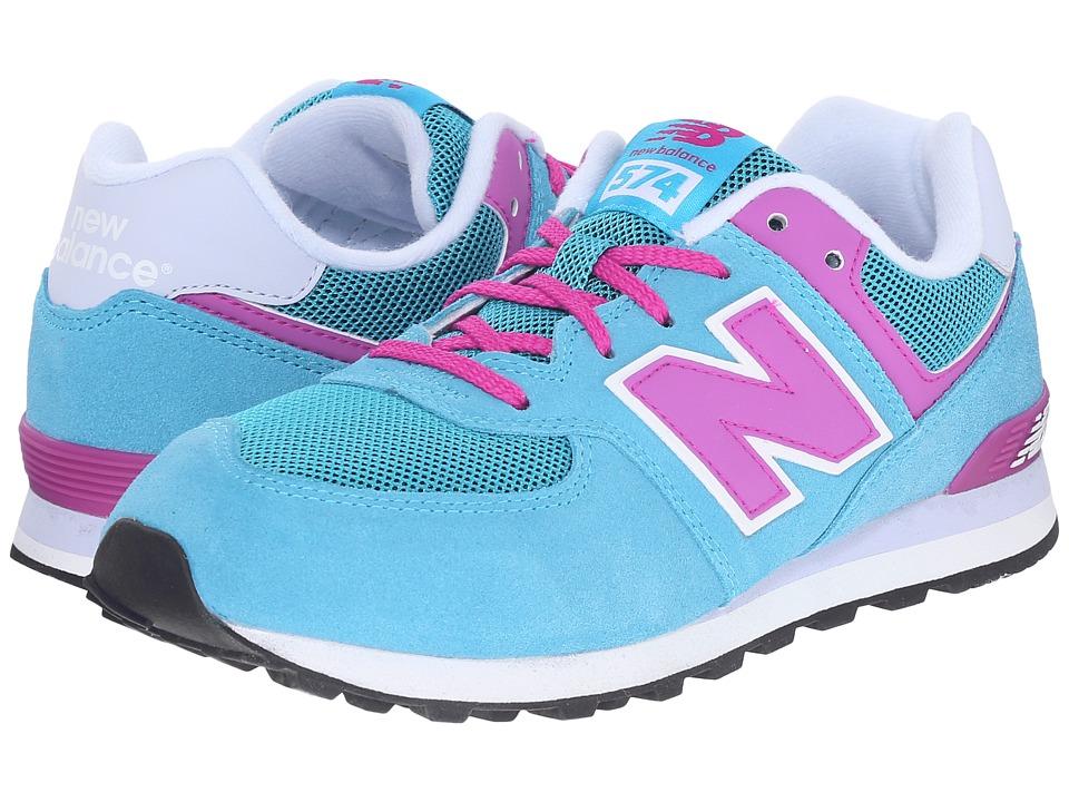 New Balance Kids - KL574 (Big Kid) (Blue/Pink) Girls Shoes