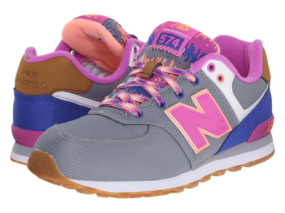 New Balance Kids - KL574 (Big Kid) (Grey/Pink 1) Girls Shoes