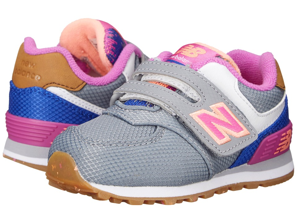 New Balance Kids - KG574 (Infant/Toddler) (Grey/Pink) Girls Shoes